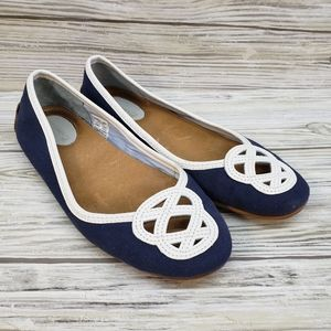 Sperry Navy & White Ballet Flats Anchor Knot